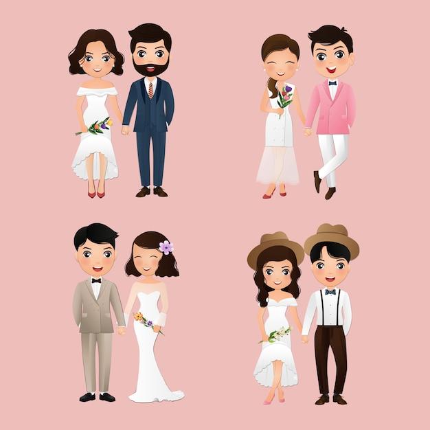 Set tekens schattige bruid en bruidegom. trouwdag Premium Vector