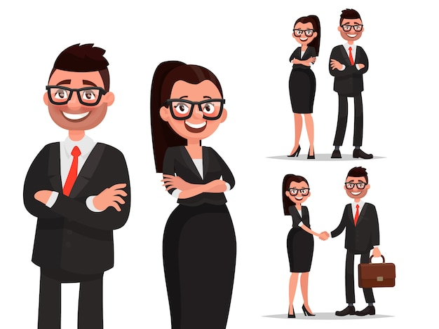 Set tekens zakelijke paar. handdruk en samenwerking. man en vrouw gekleed in pakken. zakenman en zakenvrouw Premium Vector