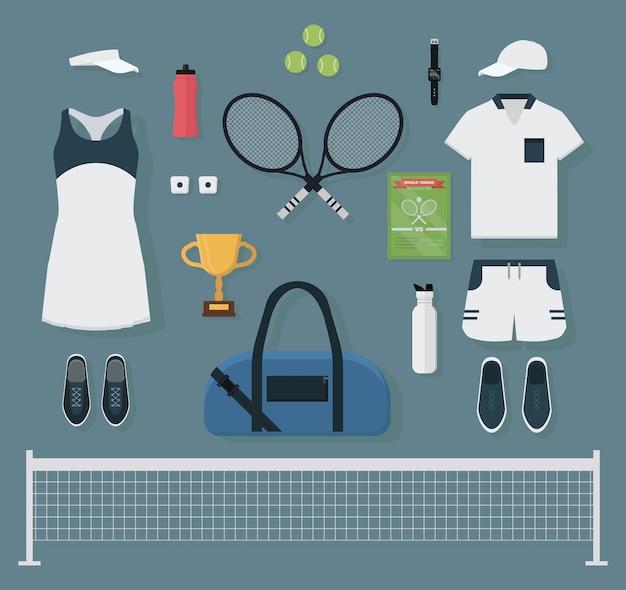 Set tennisuitrusting Premium Vector