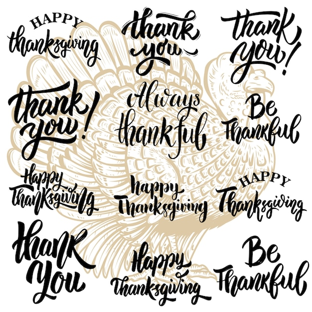 Set thanksgiving belettering zinnen. turkije illustratie. elementen voor poster, wenskaart, poster. illustratie Premium Vector