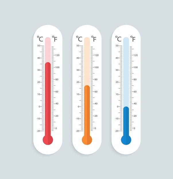 Set thermometers in plat ontwerp. Premium Vector