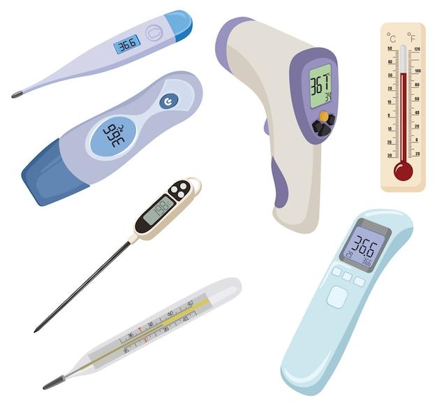 Set thermometers. verzameling van apparaten voor het meten van temperatuur. medisch apparaat. Premium Vector