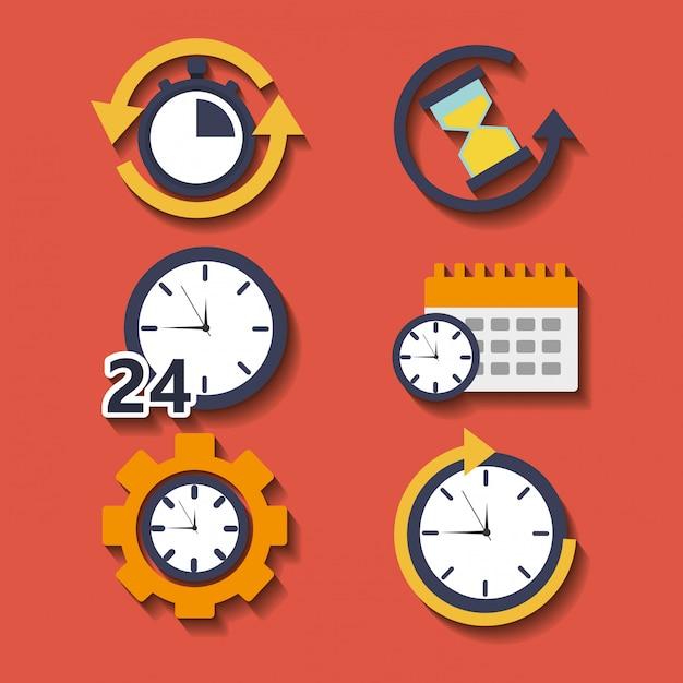 Set tijdklokuur voor planwerkservice Gratis Vector