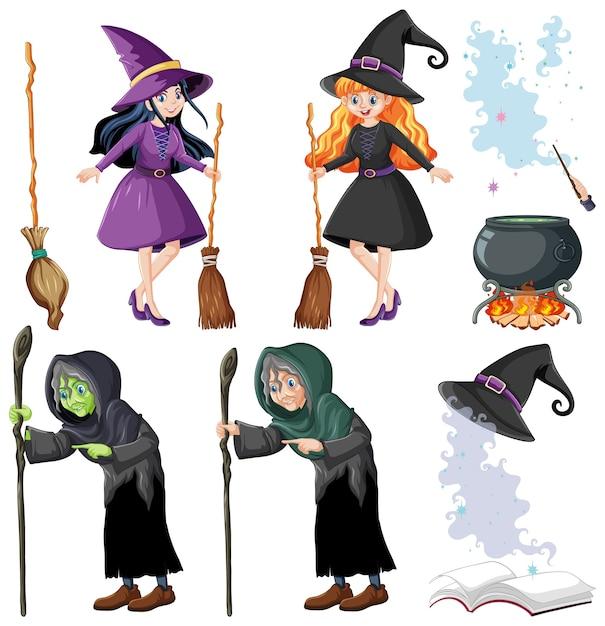 Set tovenaar of heksen en hulpmiddelen cartoon stijl geïsoleerd op wit Gratis Vector