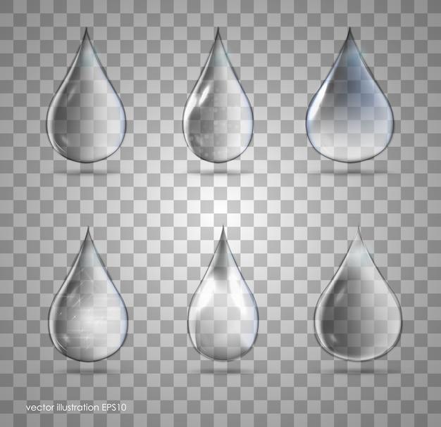 Set transparante druppels in grijze kleuren. kan met elke achtergrond worden gebruikt. Premium Vector