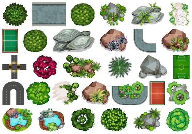 Set tuinelementen Gratis Vector