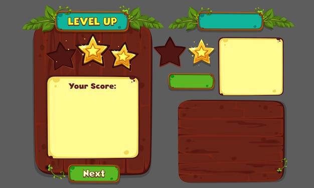 Set ui-elementen voor 2d-games en -apps, game ui deel 4 Premium Vector