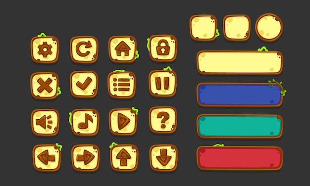 Set ui-elementen voor 2d-games en -apps, jungle game ui deel 1 Premium Vector