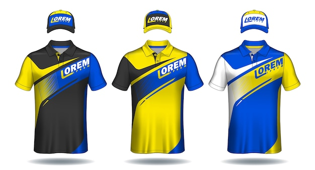 Set uniforme sjabloon, polo shirts en caps. Premium Vector