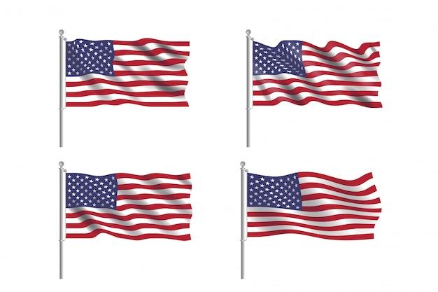 Set usa vlag. collectie van amerikaanse vlaggen bewegen in de wind in vector Premium Vector