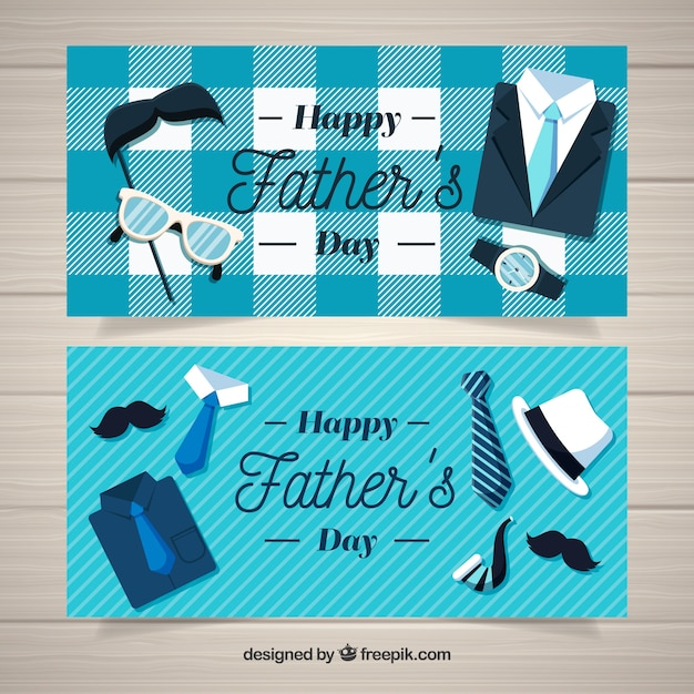 Set vaders dag banners met kleding elementen Gratis Vector
