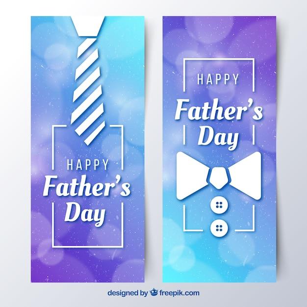 Set vaders dag banners met stropdas en strikje Gratis Vector