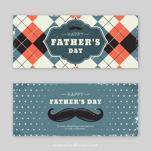 Set vaders dag banners met vintage elementen Gratis Vector