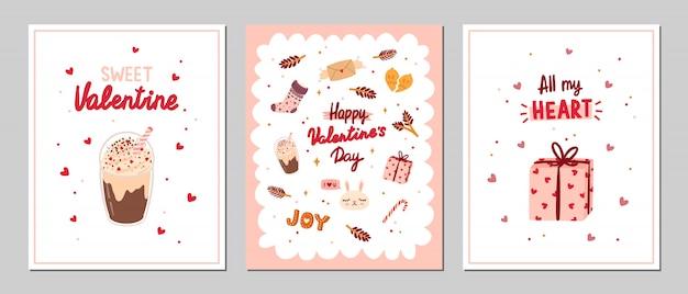 Set valentijnsdag wenskaarten met romantische en schoonheid elementen. Premium Vector