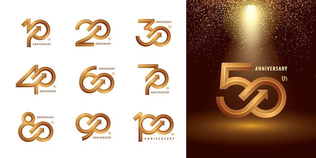 Set van 10 tot 100 verjaardag logo ontwerp, jaren vieren verjaardag logo Premium Vector