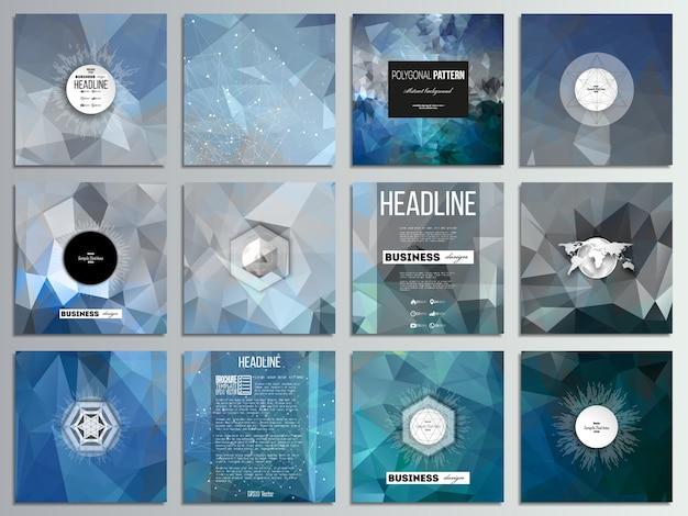 Set van 12 creatieve kaarten, vierkante brochure sjabloonontwerp. Premium Vector
