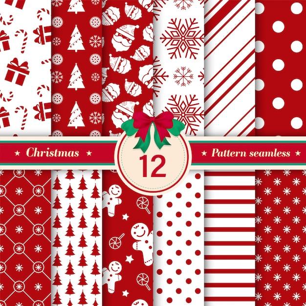 Set van 12 xmas naadloze patroon rode en witte kleuren. Premium Vector