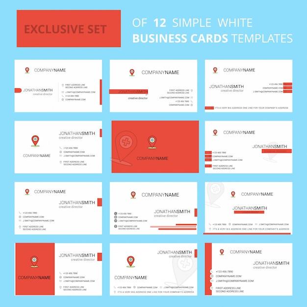 Set van 12 ziekenhuislocatie sjabloon voor creatief visitekaartjes. Gratis Vector
