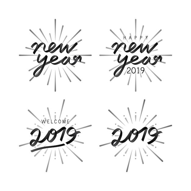 Set van 2019 nieuwjaarsviering badge vectoren Gratis Vector