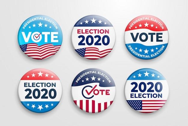 Set van 2020 amerikaanse presidentsverkiezingen badges Premium Vector