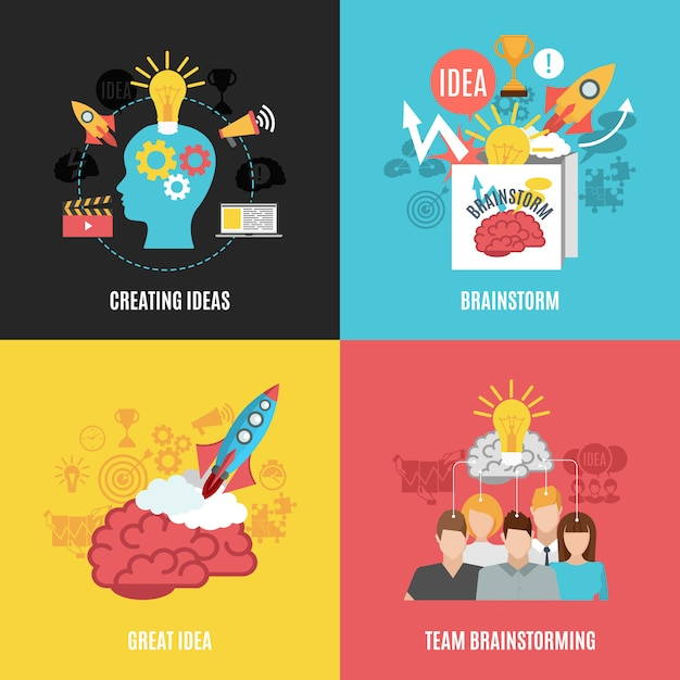 Set van 2x2 brainstormsamenstellingen Gratis Vector