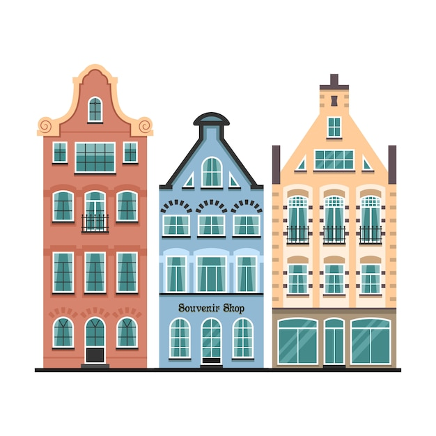 Set van 3 amsterdamse oude huizen cartoon gevels Premium Vector