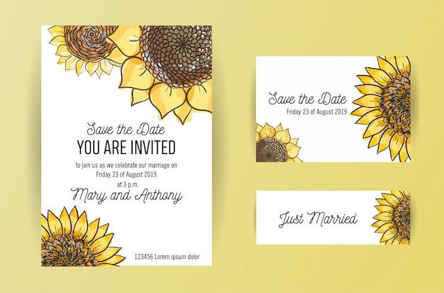 Set van 3 bruiloft uitnodigingskaart met grote gele bloemen zonnebloem. a5 bruiloft uitnodiging ontwerpsjabloon met schets illustation Premium Vector