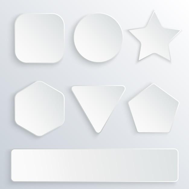 Set van 3d-papier knoppen in verschillende vormen. Premium Vector