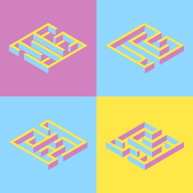 Set van 4 abstracte vierkante doolhof. Premium Vector
