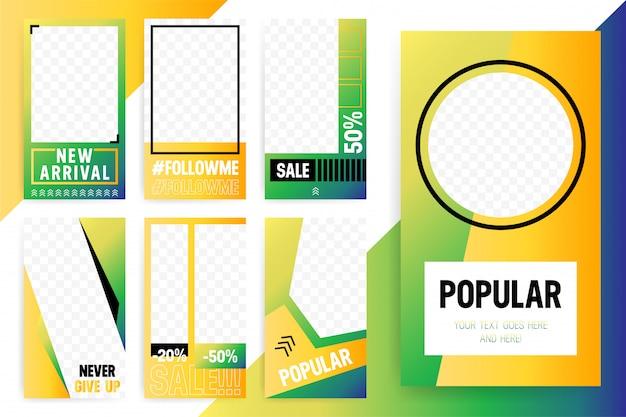 Set van 7 bright-sjabloon voor verhalen en streams. trendy sportstijl kleur. Premium Vector