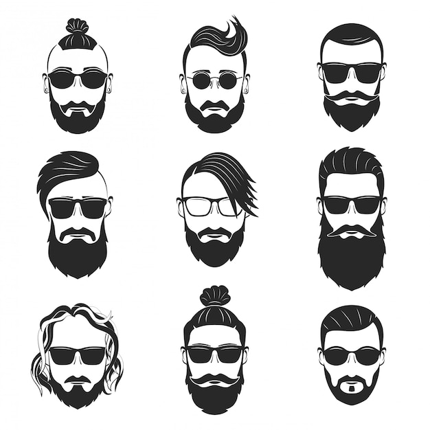 Set van 9 hippe bebaarde mannen met verschillende kapsels en snorren Premium Vector