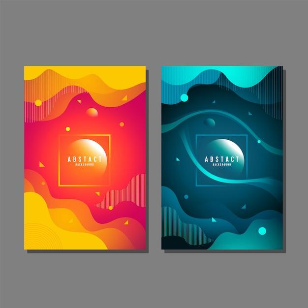 Set van abstracte achtergrond, vloeistof, vloeistof, structuurontwerp, sjabloon lay-out Premium Vector