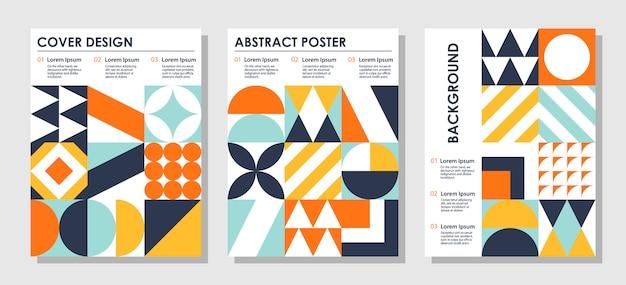 Set van abstracte creatieve achtergronden in bauhaus-stijl met kopie ruimte voor tekst. Premium Vector