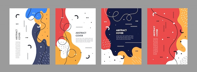 Set van abstracte creatieve artistieke sjabloon voor cover ontwerp Premium Vector