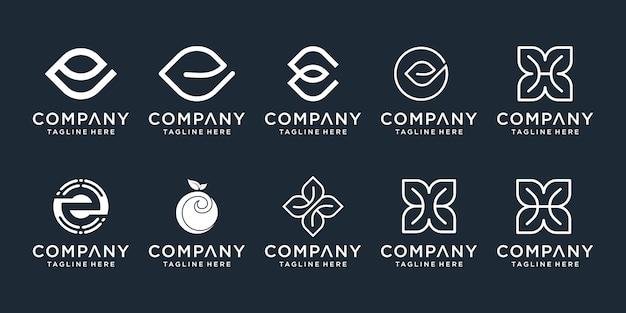 Set van abstracte eerste letter e en h logo sjabloon. pictogrammen voor zaken van luxe, natuur, spa, eenvoudig. Premium Vector