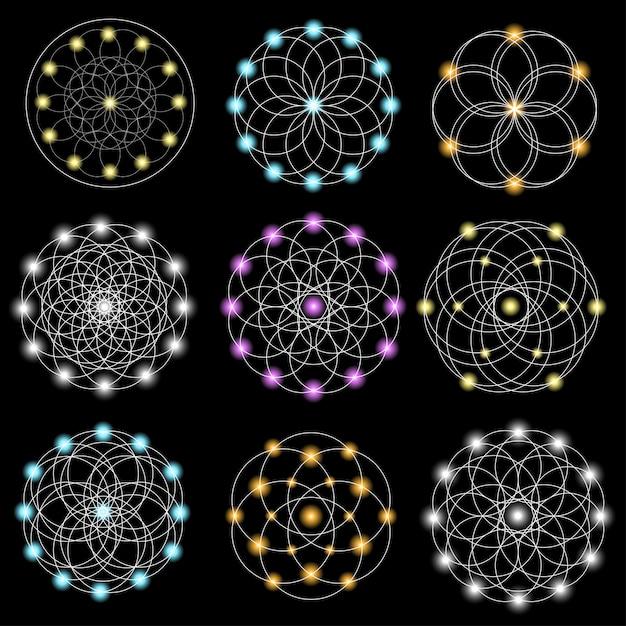 Set van abstracte geometrische elementen en vormen op zwarte achtergrond. Premium Vector