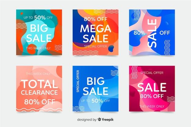 Set van abstracte kleurrijke vormen instagram berichten Gratis Vector