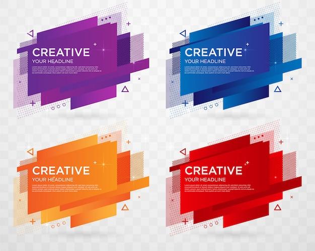 Set van abstracte label sjabloonontwerp met trendy stijl Premium Vector