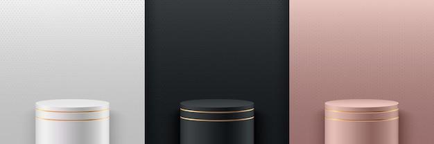 Set van abstracte luxe ronde display. 3d-rendering geometrische vorm wit zwart en rose gouden kleur. Premium Vector
