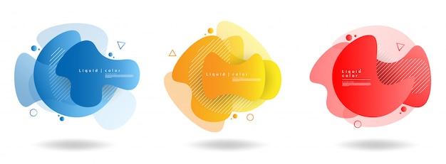 Set van abstracte moderne grafische elementen. dynamisch gekleurde vormen en golven. gradiënt abstracte banners met vloeiende vloeibare vormen. Premium Vector