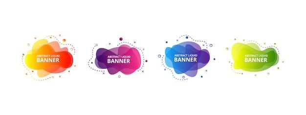 Set van abstracte moderne vloeibare grafische elementen. dynamisch gekleurde vormen en lijn. gradiënt abstracte banners met vloeiende vloeibare vormen. Premium Vector