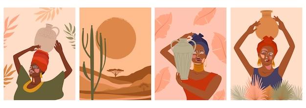 Set van abstracte posters met vrouw in tulband, keramische vaas en kannen, planten, abstracte vormen en landschap. Premium Vector