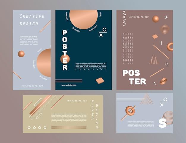 Set van abstracte posters voor ontwerp versierd met geometrische figuren en gouden 3d vormen. Premium Vector