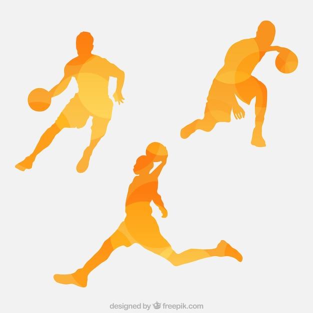 Set van abstracte silhouetten van basketbalspelers Premium Vector