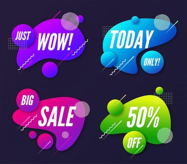 Set van abstracte trendy dynamische promotiebanner Premium Vector