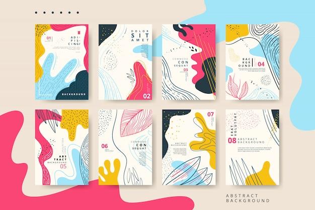 Set van abstracte universele kaart met hand getrokken textuur Premium Vector