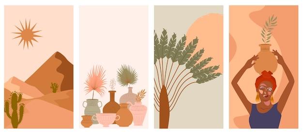 Set van abstracte verticale achtergrond met vrouw in tulband, keramische vaas en kannen, planten, abstracte vormen en landschap. Premium Vector