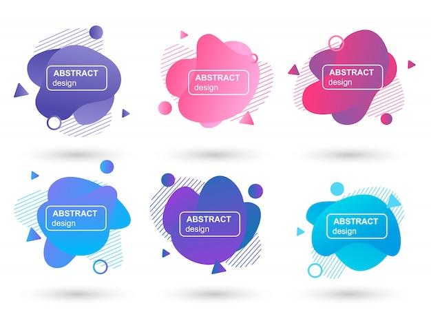 Set van abstracte vloeibare vormen moderne grafische elementen Premium Vector
