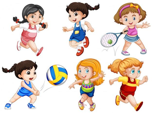 Set van actieve meisjes Gratis Vector