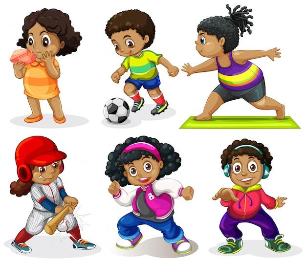 Set van afrikaanse kinderen Gratis Vector